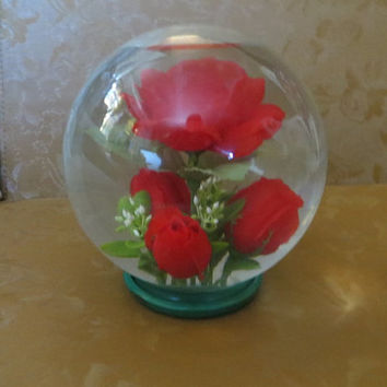 1950 original  Vintage Crystal Ball Display Dome, centerpiece   with Large RED  Roses  Bowl Clear  Glass,   Display Flower Arrangement