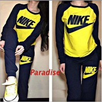 NIKE Print Scoop Neck Top Sweater Pants Sweatpants Set Two-Piece Sportswear-1