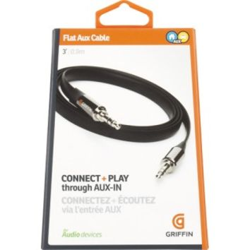 Griffin Technology - Flat Aux Stereo Audio Cable - Black