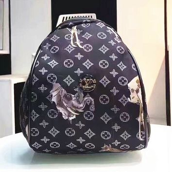 LV Women Shopping Leather Metal old plaid Backpack