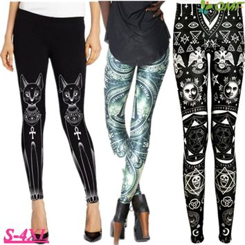 Egyptian Cat Bastet Pencil Leggings Green Eye Of Providence Fitness Running Tights Autumn Plus Size Womens Trousers Ankle Length