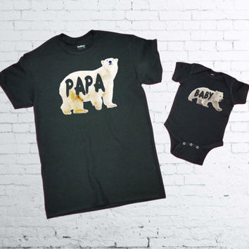 Papa Polar Bear T-shirt. Baby Polar Bear Onesuit. Father and Son T-shirts. Father and Daughter T-shirt. Fathers Day Matching Set/