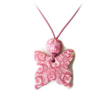 Pink Butterfly Necklace Polymer Clay Pendant  - Mothers Day Gift - Pale Pink Rose Pink Millefiori -  Bespoke Design