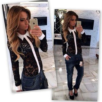 Fashionable Women Shirts 2015 Autumn Fashion Lace Female Perspective Blouses Hollow Out Long Sleeve Designer Clothes Cheap
