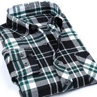 Green and Black Checkered Long Sleeve Shirt