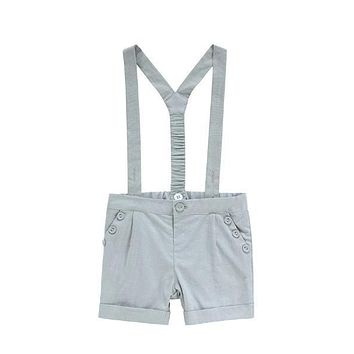 Petit Clair Boys' Sage Linen Romper with Buttons