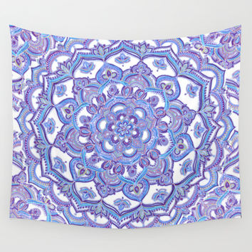 Lilac Spring Mandala - floral doodle pattern in purple & white Wall Tapestry by Micklyn