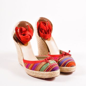 KUYOU Red Striped Tie Wedge Espadrilles