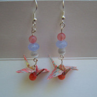 Earrings -- Origami Cranes Made From Hand Marbled Paper -- One dollar shipping