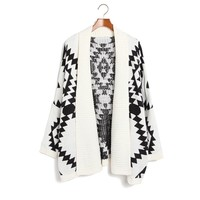 Fashion Black Geometric Loose Fitting Figure Cardigan
