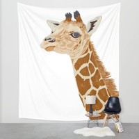 BABY GIRAFFE Wall Tapestry by Je Suis Un Lapin   Society6