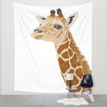 BABY GIRAFFE Wall Tapestry by Je Suis Un Lapin | Society6