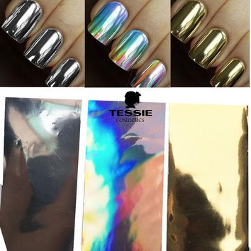 3designs/sets, Gold/Silver Laser Designs Full Cover Glitter Glue Holographic Sticker Wraps Nail Art Transfer Foils DIY