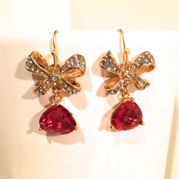 Earrings - golden earrings with bows and red stones - Bridesmaid jewellery - Wedding earrings -Evening jewelry