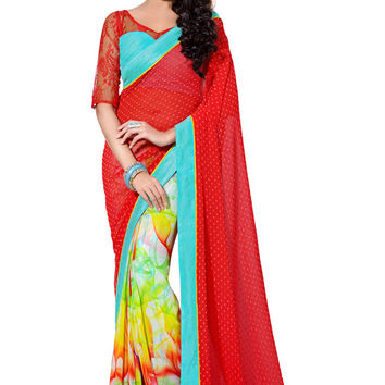 Vibrant Red and Teal Colored Exquisite Designer Saree D-210