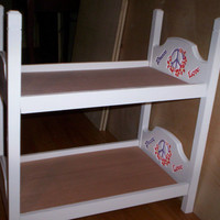 Bunk Bed made for American Girl 18 inch doll white with red & purple peace symbol peace love