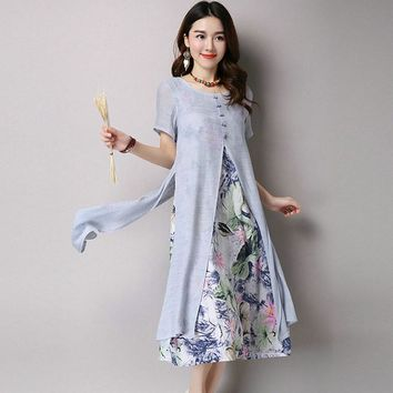 Women Round Neck Short Sleeve Patchwork Linen Dress Fashion New Summer Spring Work Casual Dresses
