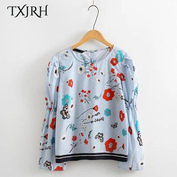 TXJRH Cute Floral Pattern Blouse Sweet Puff Sleeve O-Neck Pullover Shirt Loose Lolita Style Back Button Women Tops SY17-02-23