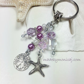 Beach Keychain with Beach Theme Charms and Lilac Crystal and Pearls.  Beach Lover Gift Idea. June Birthmonth Gift Idea.