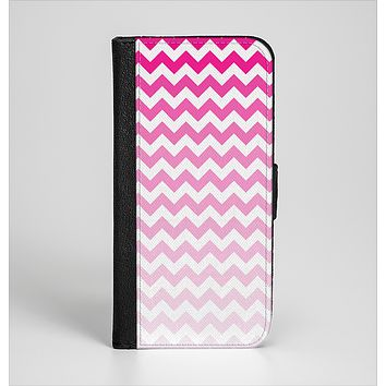 The Pink & White Ombre Chevron Pattern Ink-Fuzed Leather Folding Wallet Case for the iPhone 6/6s, 6/6s Plus, 5/5s and 5c