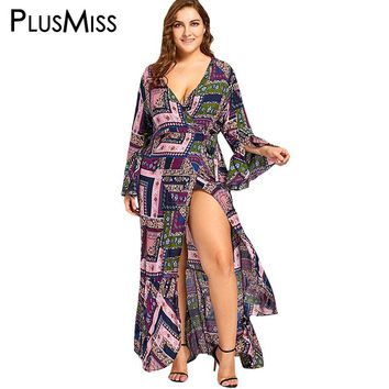 PlusMiss Plus Size 5XL Boho Bell Sleeve Wrap Maxi Dress Women Long Sleeve Sexy V Neck Beach Long High Split Dress Big Size 2017