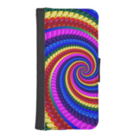 Rainbow Fractal Art Swirl Pattern iPhone 5 Wallet