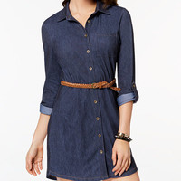 Ultra Flirt Juniors' Belted Denim Shirtdress - Juniors New Arrivals - Macy's