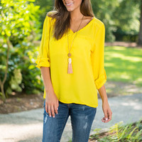 Roped Trim Love Blouse, Yellow