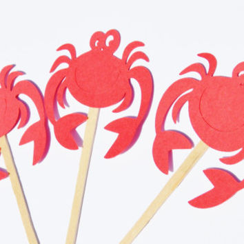 Under the sea, crab cupcake toppers, party decor, beach party, cupcake picks, crab party decor