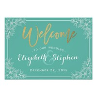 Teal & White Floral Wedding Welcome Reception Sign