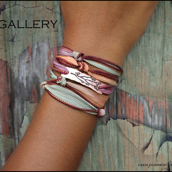 D2E hand dyed silk yoga wrap bracelet with hand stamped copper bird on tree branch charm and magnetic clasp