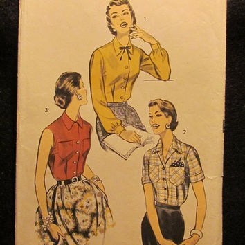 Sale Uncut/Cut 1950's Advance Sewing Pattern, 7921! Size 18 Bust 36 Medium/Large/Women's/Misses/Collared Blouses/Fitted Shirts/Button Up Top