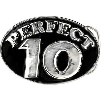 Black and Silver PERFECT 10 Belt Buckle