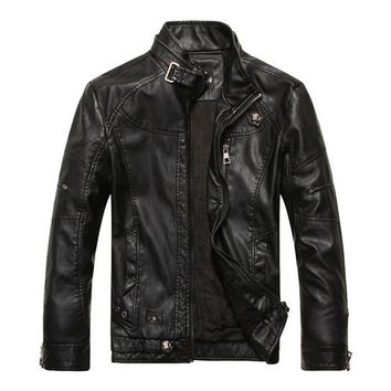 Leather & Suede Plus Velvet Motorcycle PU Leather Jackets Men  New arrived Autumn Winter Business casual fashion coats