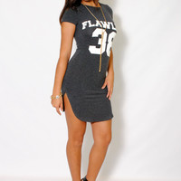 (aly) Flawless 38 round neck short charcoal dress