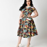 Unique Vintage Plus Size 1950s Style Comic Book Action Print Cap Sleeve Hedda Swing Dress