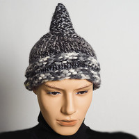 Mens black & white hat - Man's gray tweed hat - Ready to ship - Fashion knit hat - Chunky knit elf hat - Warm winter hat - Teen boy hat