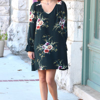 Florally Fall Keyhole Back V-neck Dress {Hunter Green}