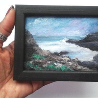 "Original Mini Oil Painting of Sea Scape 2 7/8""x 3 7/8"" with Frame READY to SHIP"