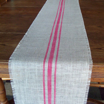 Hand Painted Grain Sack Style Burlap Table Runner with Bright Pink Stripes 12 x 84 - Other Colors Available