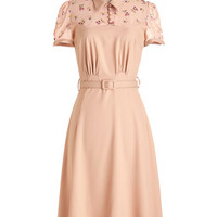 ModCloth Vintage Inspired Long Short Sleeves A-line Cheery Cordial Dress in Cap Sleeves