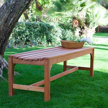 5-Ft Backless Garden Bench in Weather Resistant Wood