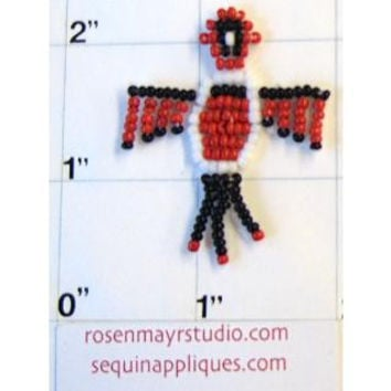 """Southwestern Thunderbird with Red and Black Beads 1.5"""" x 1.5"""""""
