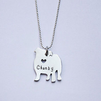 STERLING SILVER- Personalized Pet Necklace- you choose the breed silhouette. Habd engraved, pet jewelry, english bulldog
