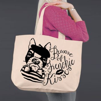 French Bulldog | Frenchie Kisses | Personalized Canvas Tote Bag