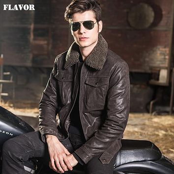 Men's real leather jacket Genuine Leather jacket men leather coat fur collar padding cotton motorcycle jackets