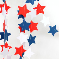 Patriotic Red White and Blue Star Garland, 4th of July Garland, USA Garland,