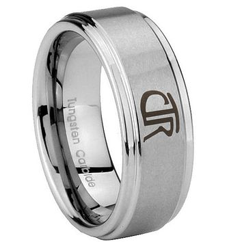 8mm CTR Step Edges Brushed Tungsten Carbide Mens Wedding Band