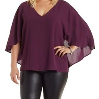 Plus Size Deep Purple Cape Sleeve Chiffon Top by Charlotte Russe