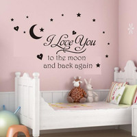 Black I Love You To The Moon And Back Wall Letter Decal Girls Kids Room Home Decor Wall Sticker